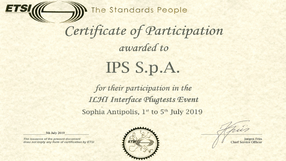 IPS partecipates at the ETSI ILHI Interface Plugtests Event